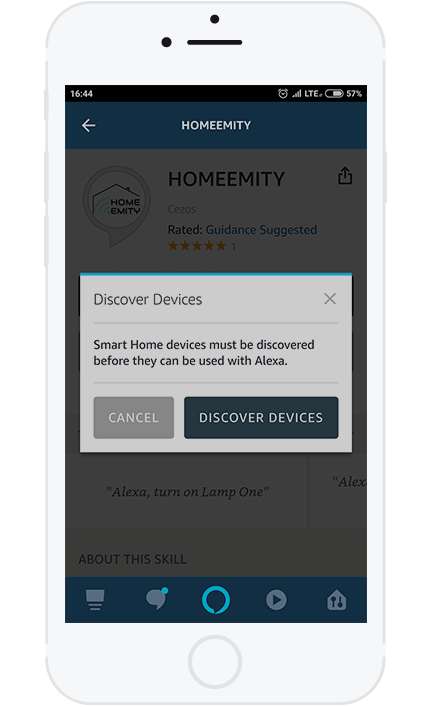 "9. Press the ""Discover Devices"" to add the previously configured HOMEEMITY devices."