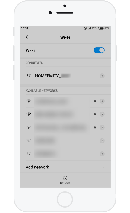 2. Turn the Wi-Fi ON on the device you want to configure the HOMEEMITY with.