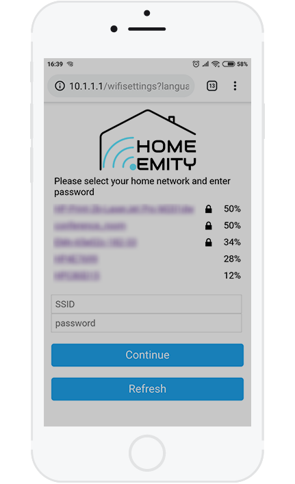 4. Select your local home network (Wi-Fi) and enter the password.