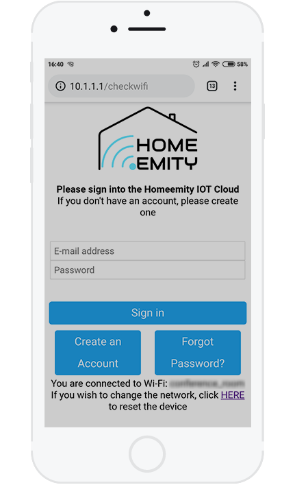 5. If you have a HOMEEMITY account, please sign in now and skip the next step.