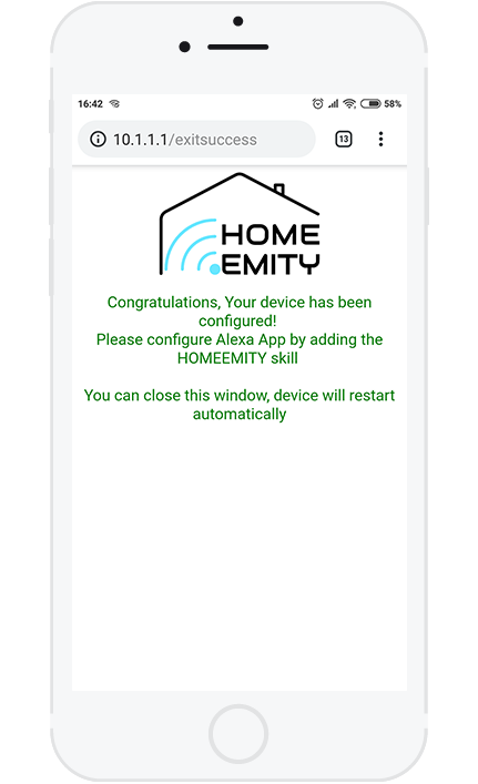 8. If all the steps were successful, the configuration is completed and now your device is connected to the HOMEEMITY Cloud.