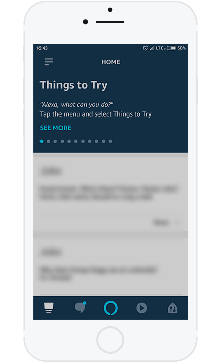 2. In the Alexa app, open the menu on the left side